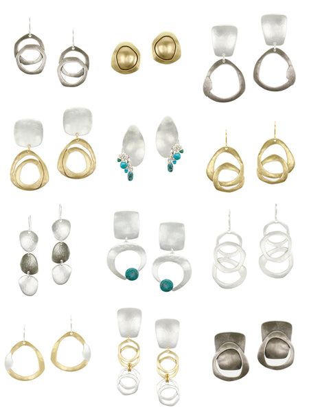 A selection of wire, clip on, and post earrings from the Summer 2014 collection