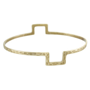 Wide Notch Bangle Bracelet
