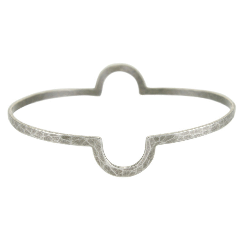 Double Semi-Circle Notch Bangle Bracelet