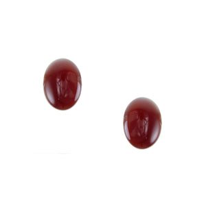 Carnelian Small Button Clip on or Post Earring