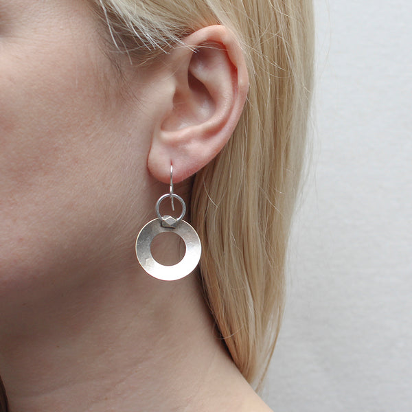 Wide Ring with Ring and Bead Wire Earring