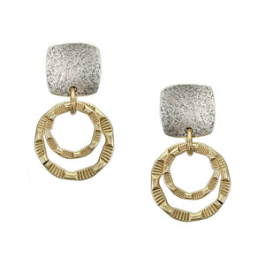 Small Rounded Square with Patterned Rings Post Earring