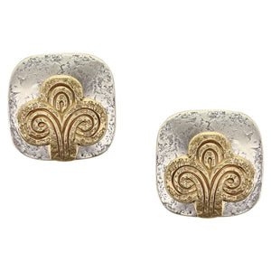 Rounded Square with Swirling Abstract Tree Clip or Post Earring