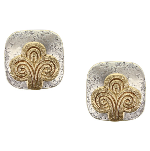 Rounded Square with Swirling Abstract Tree Clip Earring