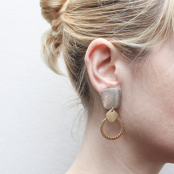 Tapered Square with Rounded Square and Textured Ring Post or Clip Earring