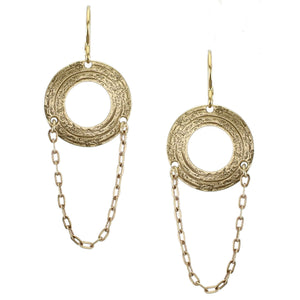 Small Cutout Disc with Chain Wire Earring