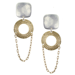 Rounded Square with Small Cutout Disc Chain Post or Clip Earring