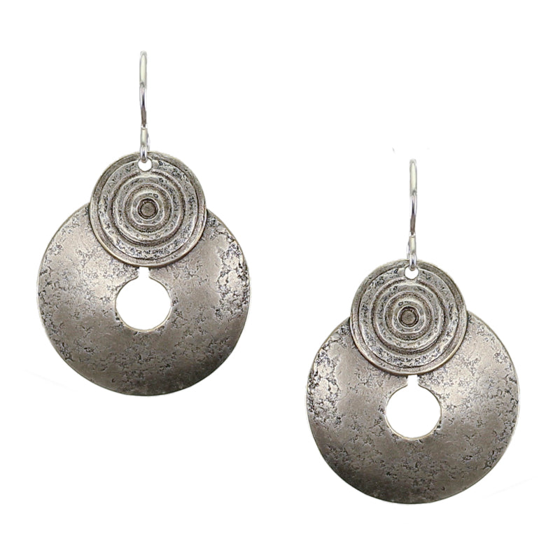 Patterned Disc Over Cutout Disc Wire Earring