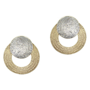 Disc with Patterned Ring Post or Clip Earring