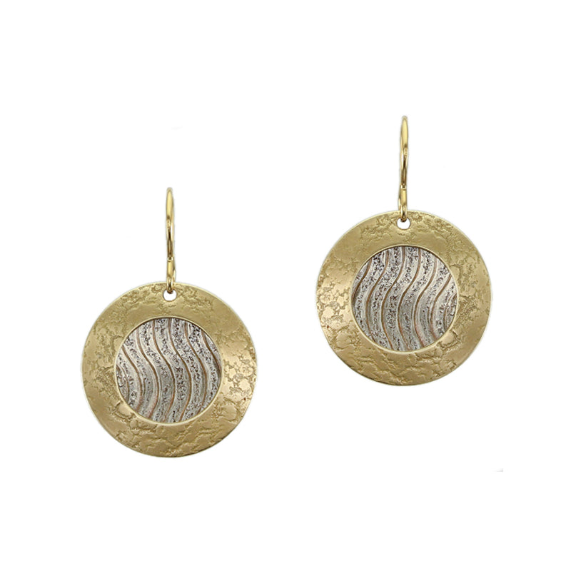 Ring with Wavy Patterned Disc Wire Earring