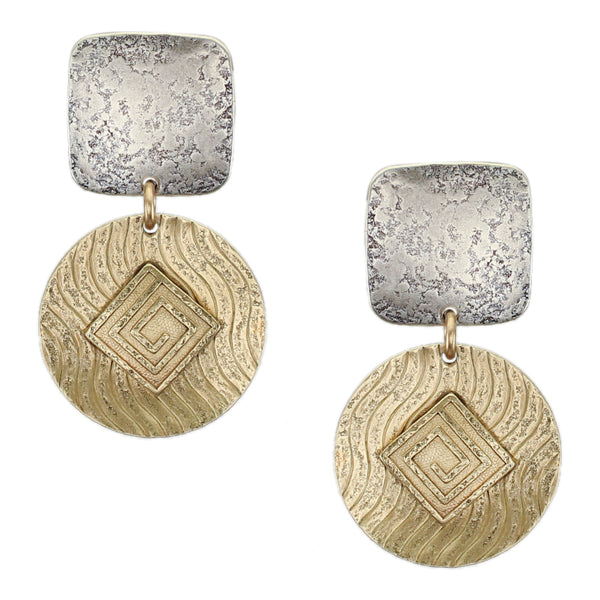 Patterned Squares and Disc Matching Set - Post or Clip Earrings with Matching Necklace