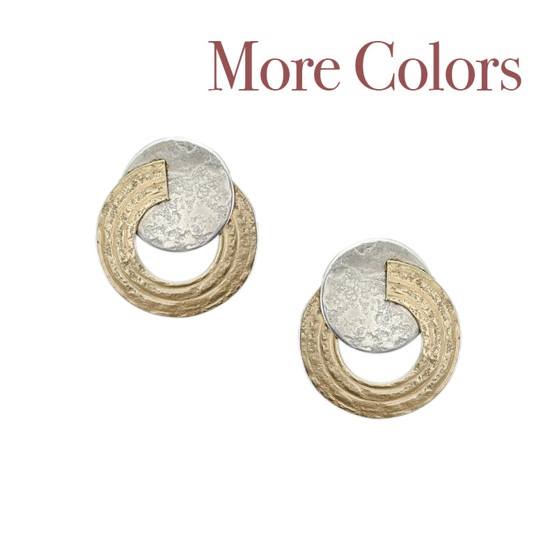 Small Disc with Split Patterned Ring Post Earring