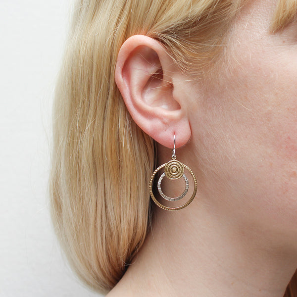 Patterned Disc with Patterned Rings Wire Earring