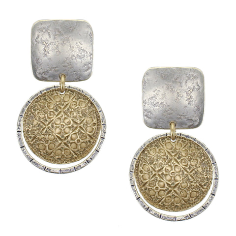 Square with Tile Patterned Domed Disc and Ring Clip Earring