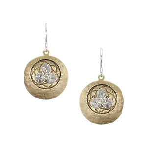 Triple Swirl with Patterned Disc Wire Earring