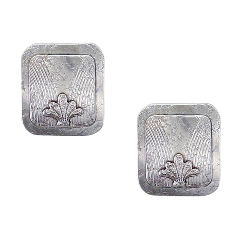 Rounded Patterned Rectangle with Abstract Leaf Clip Earring