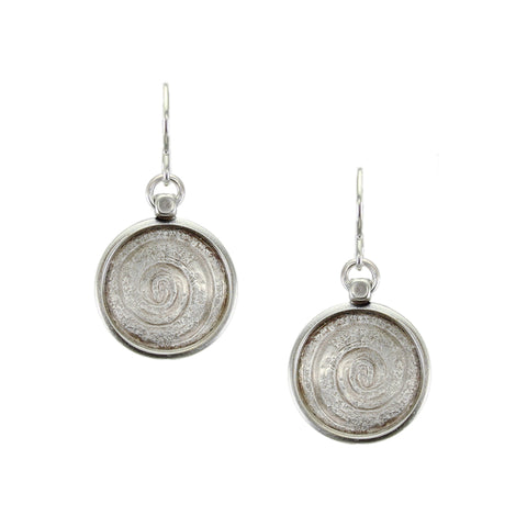 Rimmed Spiral Disc Wire Earring