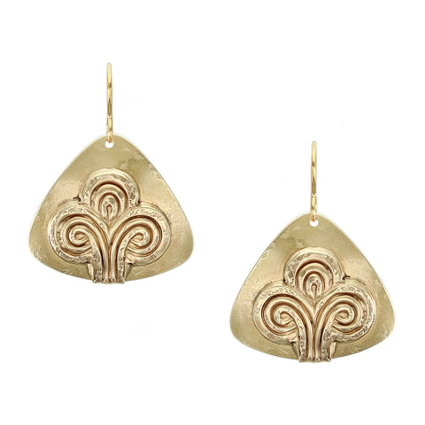 Rounded Triangle with Swirling Abstract Tree Wire Earring