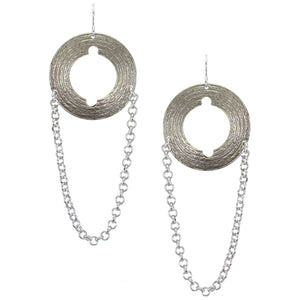 Large Cutout Disc with Chain Wire Earring