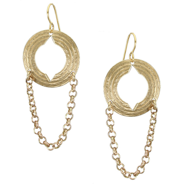 Medium Cutout Disc with Chain Wire Earring