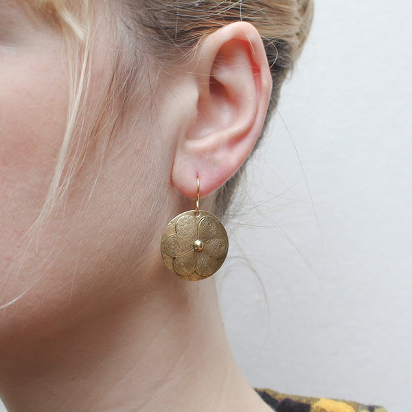 Disc with Patterned Flower Wire Earring