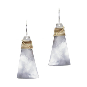 Long Trapezoid with Crossed Wire Wrap Wire Earring