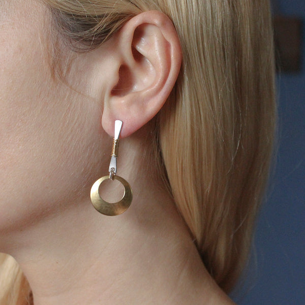 Wire Wrapped Rod with Cutout Disc Post Earring