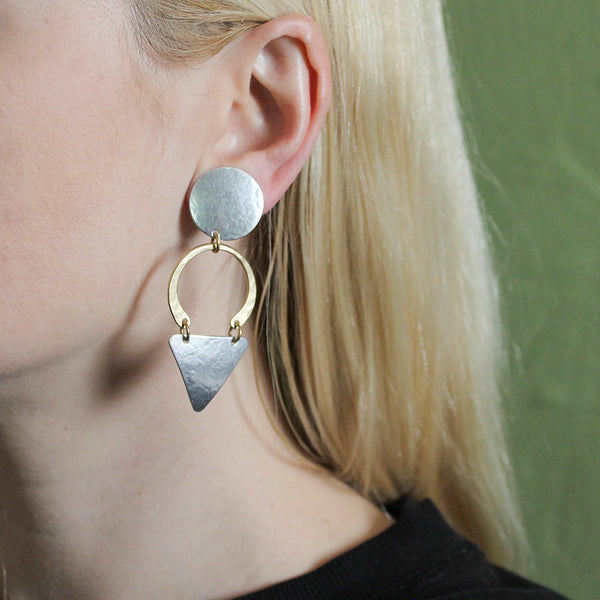 Disc with Hammered Crescent and Rounded Triangle Post or Clip Earring