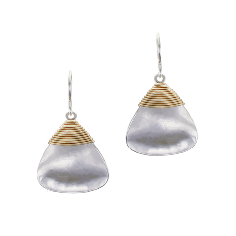 Hammered Rounded Triangle with Wire Wrapping Wire Earring