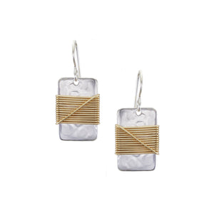Small Rectangle with Crossed Wire Wrapping Wire Earring