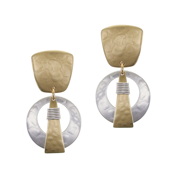 Tapered Square with Cutout Disc and Wire Wrapped Triangle Post or Clip Earring