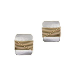 Rounded Rectangle with Crossed Wire Wrapping Post or Clip Earring