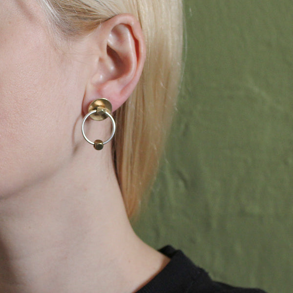 Small Dished Disc with Beads and Ring Post or Clip Earring