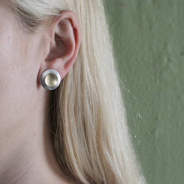 Domed Disc with Dished Disc Post Earring