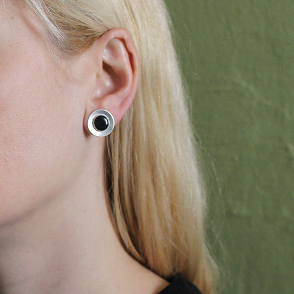 Domed Disc with Black Cabochon Post Earring