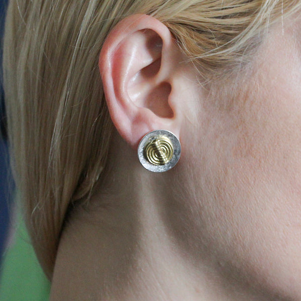 Disc with Spiral Patterned Bead Post or Clip Earring