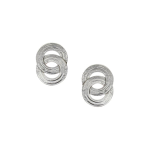 Interlocking Patterned Rings Post Earring