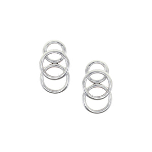 Overlapping Hammered Rings Post Earring