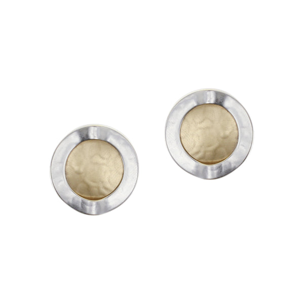 Folded Ring with Disc Post or Clip Earring
