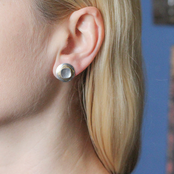 Domed Disc with Stacked Rounded Squares Post Earring