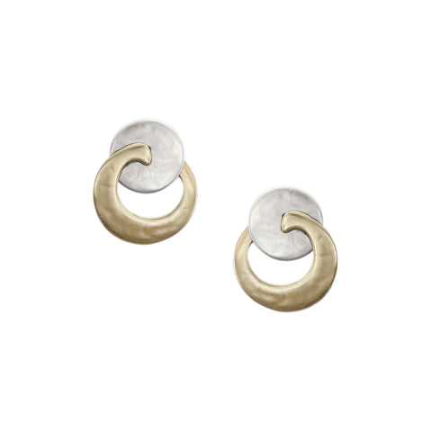 Small Disc with Overlapping Crescent Post Earring