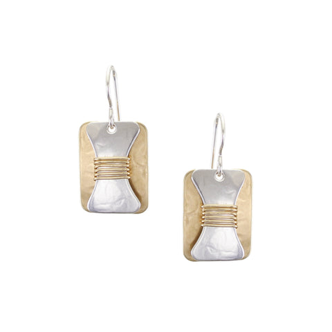 Rounded Rectangle with Wire Wrapped Hourglass Wire Earring