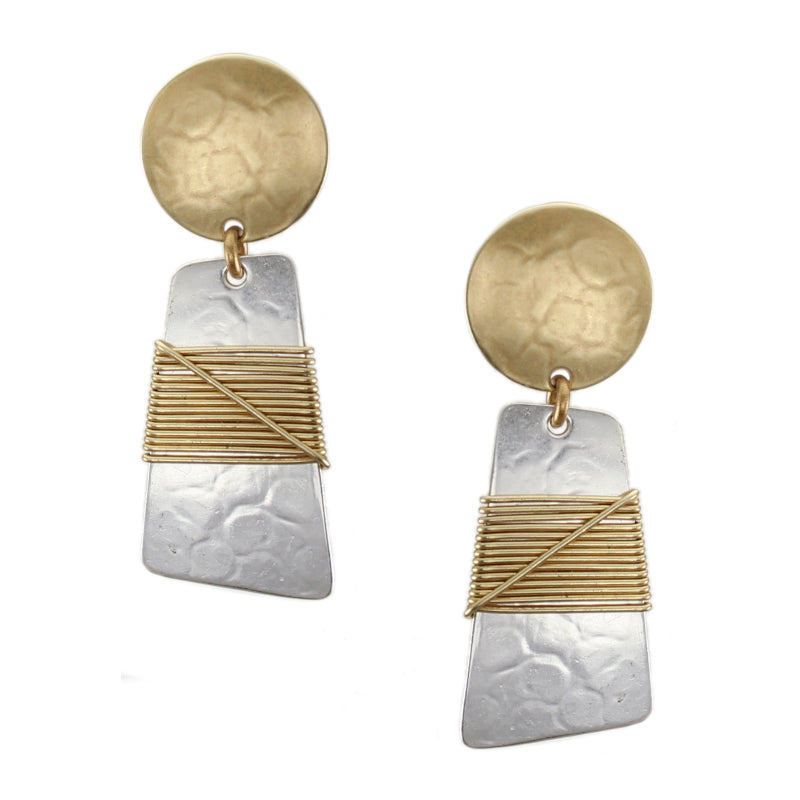 Disc and Trapezoid with Crossed Wire Wrapping Post or Clip Earring
