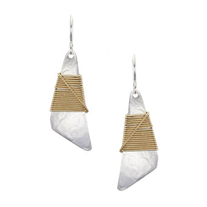 Medium Fin with Crossed Wire Wrapping Wire Earring