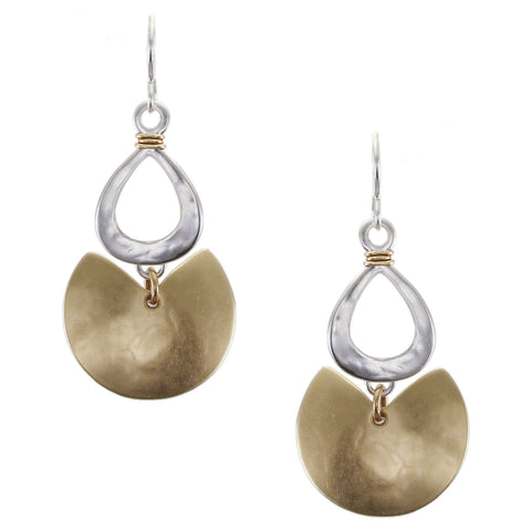 Wire Wrapped Cutout Teardrop with Semi Circle Wire Earring