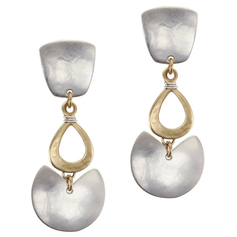 Tapered Square with Wire Wrapped Cutout Teardrop and Semi Circle Post or Clip Earring