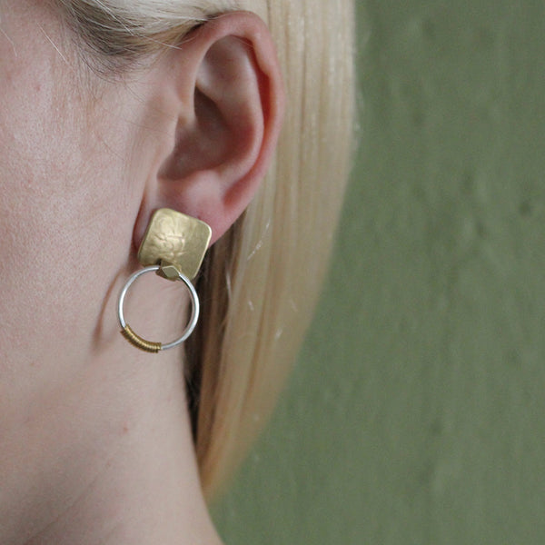 Rounded Square with Bead and Wire Wrapped Ring Post or Clip Earring
