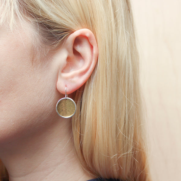 Concave Disc with Ring Wire Earring