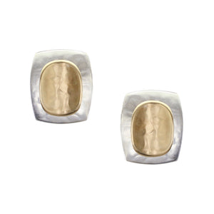 Rounded Rectangle with Concave Oval Clip or Post Earring