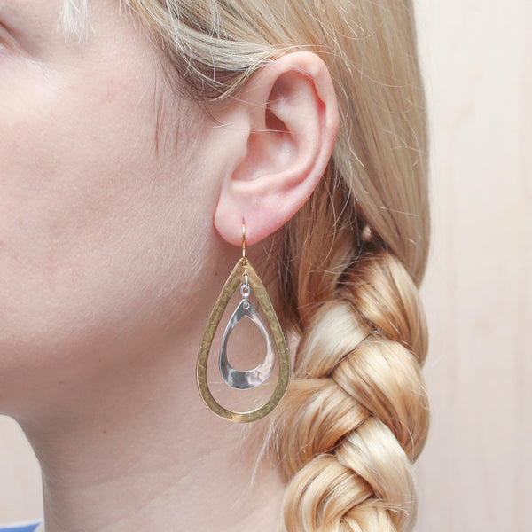 Extra Large Tiered Teardrop Hoops Wire Earring